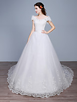 Ball Gown Wedding Dress-Chapel Train Off-the-shoulder Lace / Satin / Tulle