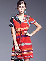 AFOLD® Women's V Neck Short Sleeve Knee-length Dress-5597