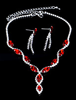 Red / Blue Full-Crystal Necklace Earrings Jewelry Set for Lady Wedding Party