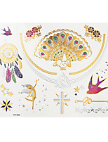1pc Flash Metallic Waterproof Tattoo Gold Silver Peacock Swallow Temporary Tattoo Sticker YH-053