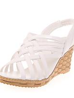 Damen-Sandalen-Lässig-PU-Keilabsatz-Sandalen-Schwarz / Weiß / Beige