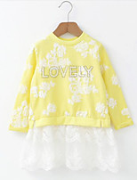 Girl's Casual/Daily Floral Dress / Hoodie & Sweatshirt,Cotton / Polyester Spring / Fall Yellow