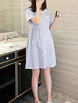 Maternity Casual,Striped Round Neck Above Knee Short Sleeve Blue Cotton / Linen Summer
