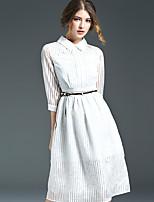Ewheat® Women's Shirt Collar 3/4 Length Sleeve Tea-length Dress-H2797