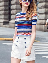 PRASE  Women's Going out Street chic Summer T-shirt,Color Block Round Neck Short Sleeve Blue Polyester Opaque