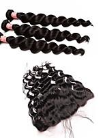 Волосы Уток с закрытием Перуанские волосы Свободные волны 12 месяцев 4 предмета волосы ткет