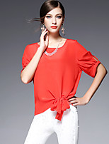 AFOLD® Women's Round Neck Short Sleeve Shirt & Blouse Blue / White / Pink / Red / Green / Yellow / Light Blue-5580