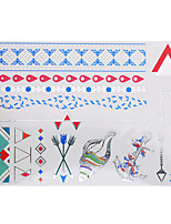 1pc Flash Metallic Tattoo Waterproof Silver Arrow Conch Red Chain Temporary Tattoo Sticker YH-096