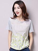 Women's Casual/Daily Simple Summer T-shirt,Print Round Neck Short Sleeve White / Gray Cotton Thin