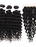 3 Bundles Brazilian Virgin Remy Deep Wave Hair 300g With 4