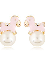 Earring Animal Shape Stud Earrings Jewelry Women Adorable Party / Daily / Casual Pearl / Alloy 1 pair Gold / White