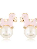 Boucle Forme d'Animal Boucles d'oreille goujon Bijoux 1 paire Adorable Soirée / Quotidien / Décontracté Perle / Alliage Femme Doré / Blanc