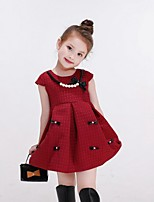 Girl's Red Dress,Solid Cotton / Rayon Winter / Spring / Fall