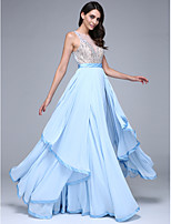 TS Couture® Formal Evening Dress A-line Jewel Floor-length Chiffon with Beading / Sash / Ribbon