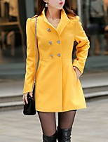 Women's Casual/Daily Simple Coat,Solid Notch Lapel Long Sleeve Winter Pink / Gray / Yellow Nylon Thick