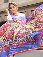 Summer Silk Large Square Scarf Thin Mantillas  Print Big Shawl