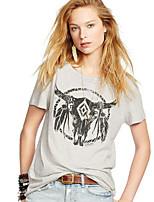 De las mujeres Simple Casual/Diario Verano Camiseta,Escote Redondo Estampado Manga Corta Algodón Gris Opaco