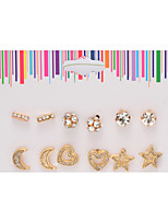 Alloy Golden Moon Star Heart Shape Pierced Stud Earrings Jewelry(6Pair/Set)casual