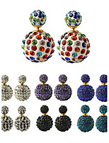 Multicolor Fashion Luxury Full Crystal Ball Multicolored Pearl Color Magnitude Earrings