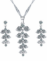 The Leaves With Rhinestone Jewelry Set Graceful Ladies'/Women's Silver Alloy Wedding Bridesmaid Gift Jewelry Set