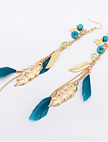 Fashion Leaves Tassel Feather Earrings Personality Mash