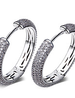 Women's Hoop Earrings Platinum Plated AAA Cubic Zirconia Paved Setting Lead Free Nickel Free Brass Copper Earrings