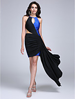 Cocktail Party Dress Sheath / Column Jewel Short / Mini Jersey with Side Draping