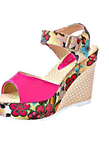 Women's Shoes PU Summer Wedges Sandals Casual Wedge Heel Others Blue / White / Fuchsia / Beige