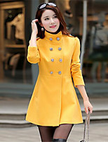 Women's Casual/Daily Simple Trench Coat,Solid Shirt Collar Long Sleeve Winter Blue / Red / Gray / Yellow Wool Thick