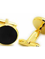 Botões de Punho 1 par,Cor Única Dourado Moderno Argola Masculino Jóias