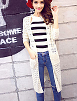 Women's Solid White / Gray / Purple / Gold Cardigan,Street chic Long Sleeve