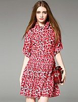 Boutique S  Women's Casual/Daily Street chic Loose Dress,Print Shirt Collar Above Knee ½ Length Sleeve Red Silk Summer