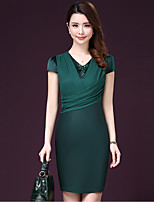 Women's Going out Street chic Plus Size Dress,Solid V Neck Above Knee Short Sleeve Red / Green Rayon / Acrylic Summer