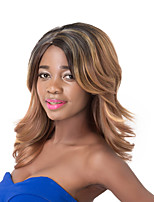 European Vogue Medium Sythetic Mixed Brown Wave Party Wig For Women
