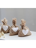 10PCS/Lot Vintage Jute Wedding Favor Bags with White Hearts Rustic Shabby Chic Party Supplies