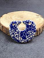 DIY Jewelry Blue White Ceramic Pendant
