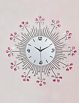 Moderne/Contemporain Fleurs / Botaniques Vacances Inspiré Famille Amis Dessin animé Horloge murale,Rond Nouveauté Métal