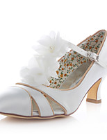 Women's Shoes Stretch Satin Spring / Summer / Fall Heels /Party & Evening / Dress Chunky Heel Flower Ivory