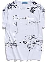 Tee-Shirt Pour des hommes Mosaïque Décontracté / Sport Manches Courtes Coton Noir / Bleu / Blanc / Gris
