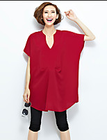 Women's Going out Street chic Summer Blouse,Solid Asymmetrical Short Sleeve Red / Black Cotton / Linen Thin