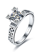 Promise 925 Silver Eiffel Tower Design 1CT Solitaire Engagement Ring for Women SONA Diamond Jewelry Ring Pt950 Stamped