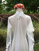 Wedding Veil One-tier Cathedral Veils Lace Applique Edge Lace White White