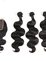Indian Body Wave With Lace Closure Indian Hair Weave Bundles 1Pc Lace Closure With 3 Bundles Human Hair