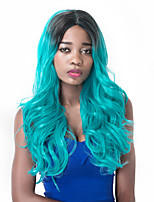 European Vogue Long Sythetic Party Black Mix Lake Blue Wig For Women