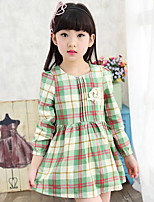 Girl's Casual/Daily Plaid Dress,Cotton Spring / Fall Green / Pink