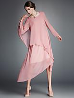 AFOLD® Women's Round Neck Long Sleeve Asymmetrical Dress-5315