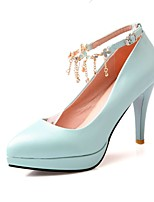 Women's Shoes PU Summer/ Pointed Toe Heels Office & Career / Casual Stiletto Heel Buckle / Chain Blue / Pink / White