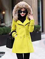 Women's Casual/Daily Simple Coat,Solid Shirt Collar Long Sleeve Winter Red / Yellow Wool / Polyester Thick