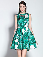Boutique S Women's Going out Sophisticated Sheath Dress,Print Crew Neck Above Knee Sleeveless Green Cotton / Polyester