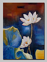 Hand Painted Canvas Oil Painting Modern Abstract Lotus Flower Art Picture With Stretched Frame Ready To Hang 80x120cm